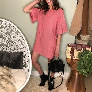 Zara striped tee shirt dress slouchy ruffle sleeve